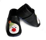 Krabbelschuh - schwarz mit Clown Motiv