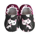 Krabbelschuh -  Baumwolle schwarz/pink/rosa mit Katze