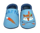 Krabbelschuh hellblau/dunkelblau - Fuchs/Indianer, personalisiert