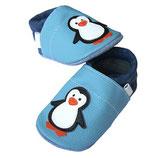 Krabbelschuh - hellblau/dunkelblau Pinguine