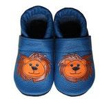Krabbelschuh - blau mit Löwe