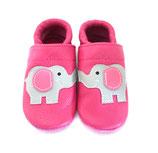 Krabbelschuh - pink mit Elefanten