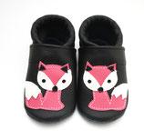 Krabbelschuh - schwarz mit Fuchs (pink)