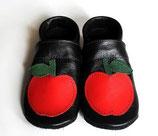 Krabbelschuh - schwarz mit Apfel
