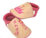Krabbelschuh pink/puder - Krone/Zauberstab, personalisiert