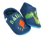 Krabbelschuh blau/grün - Drache, personalisiert