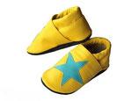 Krabbelschuh -  gelb  mit Stern