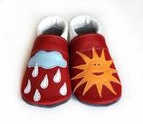 Krabbelschuh -  weiß/rot  mit Sonne/Regen