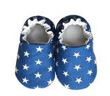 Krabbelschuh -  Baumwolle blau mit Sternen
