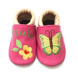 Krabbelschuh pink/puder - Schmetterling/Blume, personalisiert