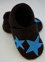 Krabbelschuh/Lederpatscherl -schwarz und mit mittelblauen Sternen