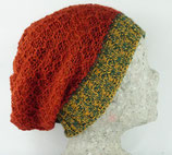 Doppelseitige Mütze,  Alpakawolle 100%, orange-grün gestreift