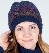 Doppelseitige Mütze, auch als Schal zu benutzen, Alpakawolle 100% und Alpakawolle boucle (89% Alpakawolle und 11% Elasthan), blau