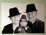 auf chlorgebleichtem Zeichenkarton: Trioportrait nach Foto (Größe bitte im Auswahlmenü wählen)