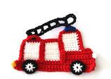 Häkelapplikation Feuerwehr Auto gross