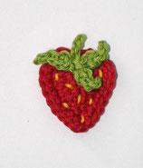 Häkelapplikation Erdbeere