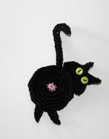 Häkelapplikation Katze von hinten