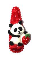 Haarspange Panda mit Erdbeere oder Melone