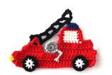 Häkelapplikation Feuerwehr Auto