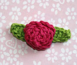 Häkelapplikation  Rose mit Blätter