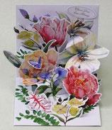 3Dカード PS1126「Watercolor Bouquet」