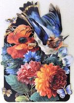 PS Greeting Cards MS CA266G アネモネとダリアに青い鳥