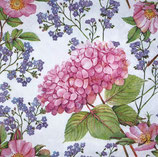 SI10中 F33  SLOG045901 Pink Hydrangea and Forget-Me-Not Flowers
