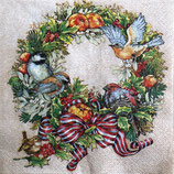 X'mas5中 X44 SLGW021301 Chrstmas Wreath birds