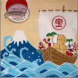10枚入りペーパーナプキン PNK-040 大漁旗 富士山と宝船