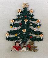壁飾り * 13-19074c ツリーと女の子とクマ 吊るすタイプ ツリーは裏表同じ