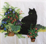 SI13中 F99-1   1332808 Black Cat Flawer pot