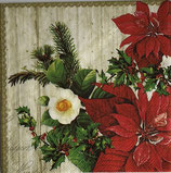X'mas4中 X18 33310540 poinsettia on wood