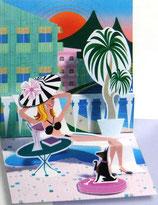 3Dカード PS672  「Poolside Girl」