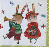 SI18中 F99   380097 Rabbit Couple with Butterflies  再入荷