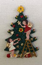 壁飾り * 13-05486c ツリーと女の子たち 吊るすタイプ