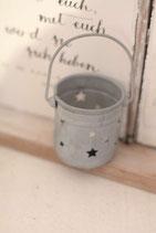 Kleines Windlicht Zink Sterne