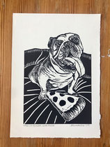 "Linocut Print ""English Bulldog With Pizza"""