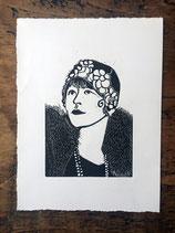 "Linocut Print ""1920s Lady"""