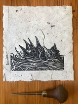 "Linocut Print - ""New Life"" (Open Edition), Original Hand Pulled Linocut Print, Printed onto Mulberry 40gsm handmade paper"