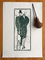 "Linocut Print ""Evening Stroll"""