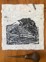 "Linocut Print - ""New Steps"", Original Hand Pulled Linocut Print, Printed onto Mulberry 40gsm handmade paper"