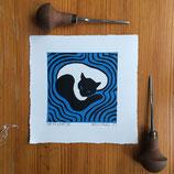 """Linocut Print """"Cat on a Mat III"""""""