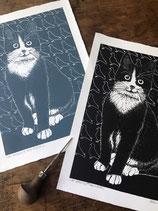 "Linocut Print ""Cat Amongst the Pigeons"""