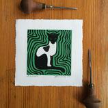 "Linocut Print ""Cat on a Mat II"""