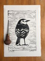 "Linocut Print ""Pied Wagtail"""