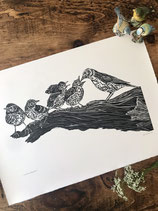 "Linocut Print ""Vita Pulchrum Est"" (""Life is Beautiful"") - Original Hand Pulled Linocut Print printed onto Zerkall 145gsm handmade paper"