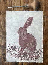 "Linocut Print ""Hare"""