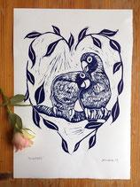 "Linocut Print ""Lovebirds"""