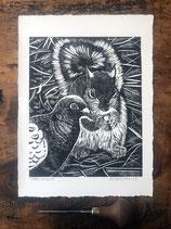 "Linocut Print ""Urban Wildlife"", Original Hand Pulled Lino Print"
