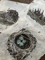 """Nest Series"" Linocut Print - Limited Edition in Dark Chocolate Brown, Hand Embellished with Gold Accents"